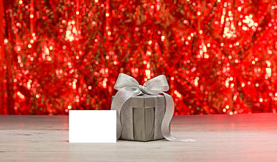 Photograph - Silver Present And A Place Card  by Ulrich Schade