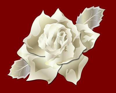 Digital Art - Silver Rose Graphic by MM Anderson