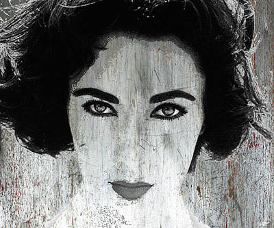 Mixed Media - Silver Screen Liz Taylor by Tony Rubino
