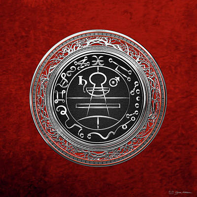 Digital Art - Silver Seal Of Solomon - Lesser Key Of Solomon On Red Velvet  by Serge Averbukh