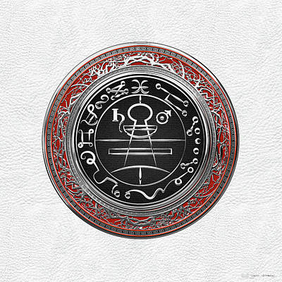 Digital Art - Silver Seal Of Solomon - Lesser Key Of Solomon On White Leather  by Serge Averbukh