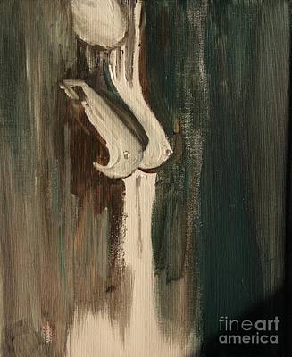 Nude Woman Torso Painting - Silver Silhouette by Julie Lueders