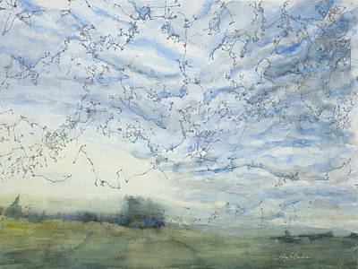 Silver Background Painting - Silver Sky by Mary Benke
