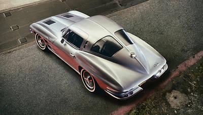 Vintage Auto Digital Art - Silver Split Window by Peter Chilelli