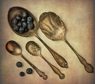 Photograph - Silver Spoons And Blueberries by Garry Gay