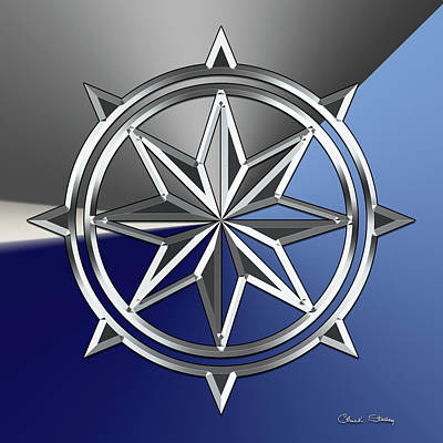 Digital Art - Silver Star 4 by Chuck Staley