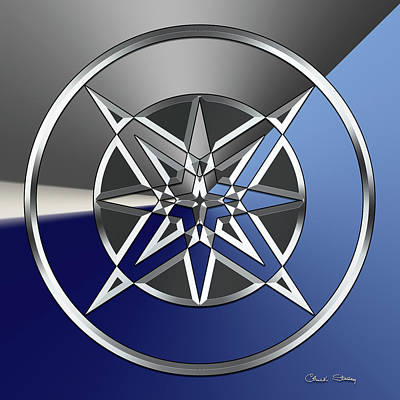 Digital Art - Silver Star 5 by Chuck Staley