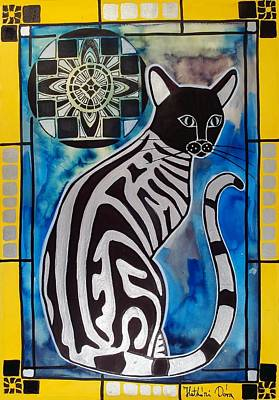 Silver Tabby With Mandala - Cat Art By Dora Hathazi Mendes Art Print