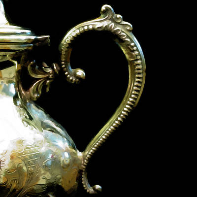 Digital Art - Silver Tea Pot Handle - Digital Oil Art Work by Sandra Foster