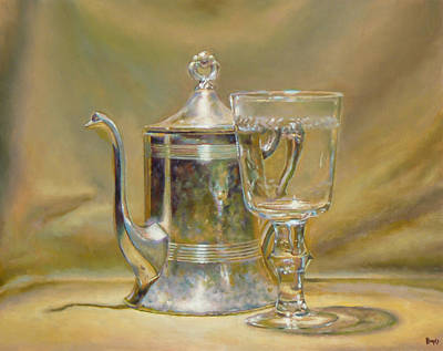 Silver Teapot And Glass Art Print by Jeffrey Hayes
