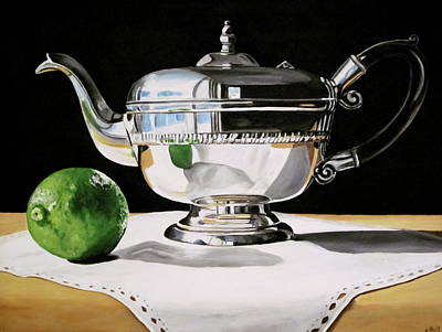 Teapot Painting - Silver Teapot And Lime by Lillian  Bell
