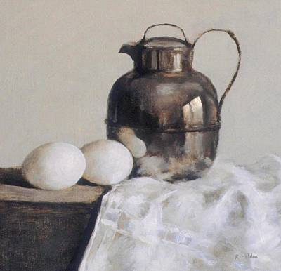 Painting - Silver Teapot And Two Eggs by Robert Holden
