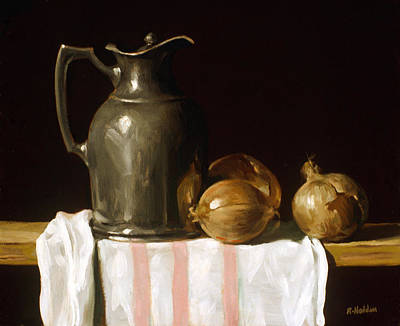 Painting - Silver Thermos Carafe, Onions And Dish Towel by Robert Holden