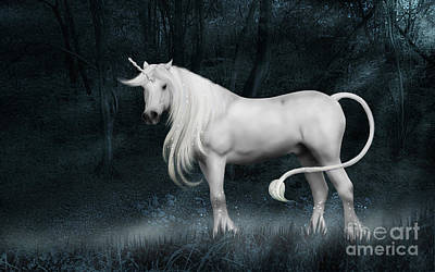 Silver Unicorn Standing In Miisty Forest Art Print