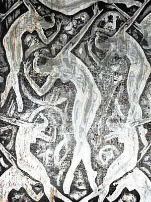 Etching Mixed Media - Silver Woman In The Machine Frieze by Tony Rubino