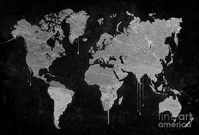 Maps Painting - Silver World Map by Mindy Sommers