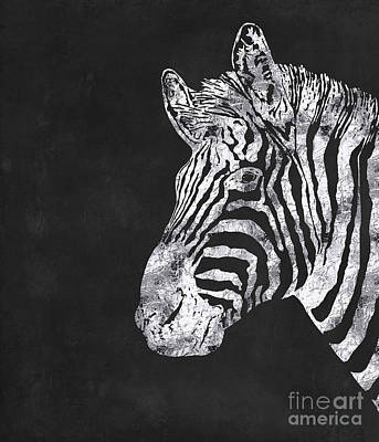 Zebra Painting - Silver Zebra, African Wildlife, Wild Animal In Silver Gilt by Tina Lavoie