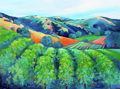 California Vineyard Painting - Silverado Trail Vineyard by Stephanie  Maclean
