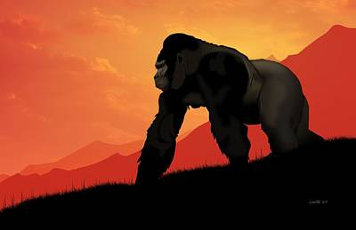 Ape Digital Art - Silverback Gorilla by John Wills
