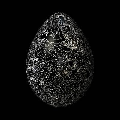 Algorithmic Digital Art - Silvered Black Egg by Hakon Soreide