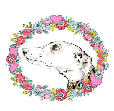 Puppies Drawing - Silvertips Greyhound With Floral Border  by Jo Chambers
