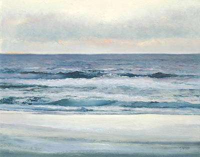 Ocean At Sunset Painting - Silvery Morn by Jan Matson