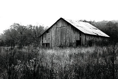 Silvery Vintage Barn Print by Rebecca Brittain