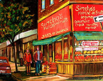 Montreal Cityscapes Painting - Simchas  Fruit Store by Carole Spandau