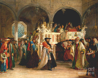 Synagogue Painting - Simchat Torah, Livorno, 1850  by Solomon Alexander Hart