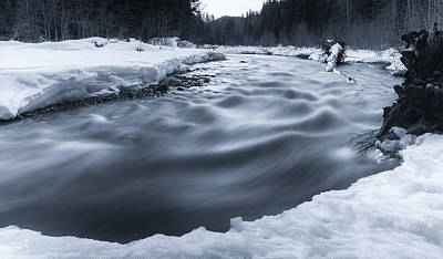 Snowy Night Photograph - Similkameen River by James Wheeler
