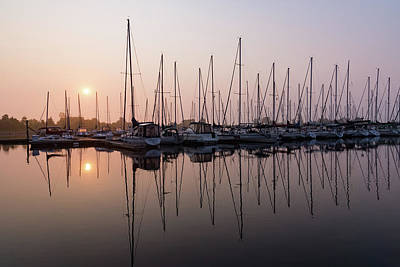 Photograph - Shimmering Pinks - Silky Sunrise With Yachts by Georgia Mizuleva