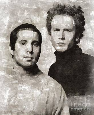 Elvis Presley Painting - Simon And Garfunkel by Mary Bassett