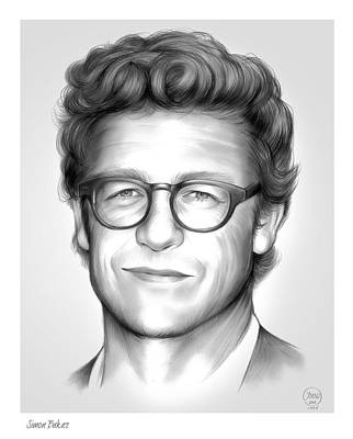 Worn Drawing - Simon Baker by Greg Joens