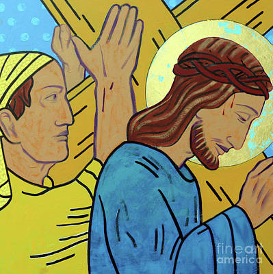 The Wooden Cross Painting - Simon Helps Jesus by Sara Hayward