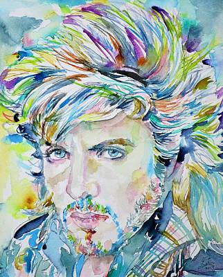 Painting - Simon Le Bon - Duran Duran - Watercolor Portrait by Fabrizio Cassetta