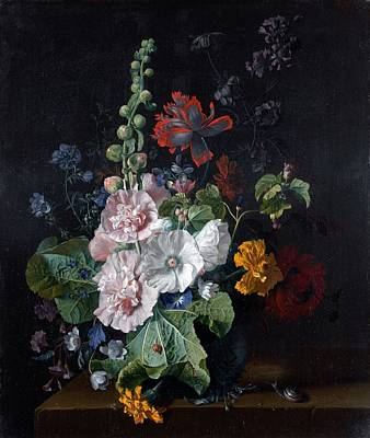 Poppies Painting - Simon Verelst Den Hague 16441721 London Roses, Irides Poppies Peonies And Pinks In A Vase On A  by Celestial Images