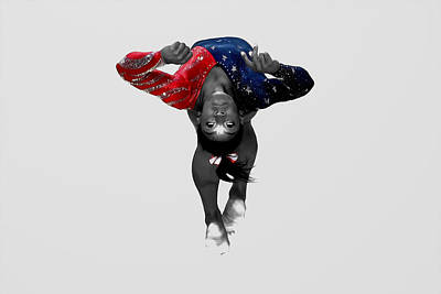 Flip Mixed Media - Simone Biles In Flight by Brian Reaves