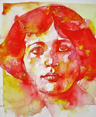Painting - Simone Weil - Watercolor Portrait.4 by Fabrizio Cassetta