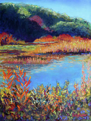 Pastel - Simpaug Pond In October by Polly Castor
