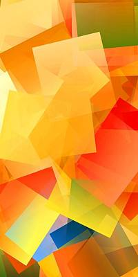 Colorful Digital Art - Simple Cubism Abstract 146 by Chris Butler
