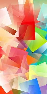 Colorful Digital Art - Simple Cubism Abstract 160 by Chris Butler