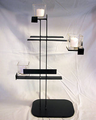 Sculpture - Simple De Stijl Candle Holder Front View by John Gibbs