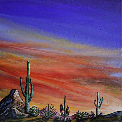 Painting - Simple Desert Sunset One by Lance Headlee