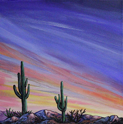 Painting - Simple Desert Sunset Three by Lance Headlee