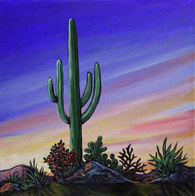 Painting - Simple Desert Sunset Two by Lance Headlee