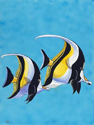 Psovart Painting - Simple Fish - Moorish Idols by Patty Vicknair