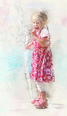 Youth Digital Art - Simple Joys Of Childhood - Watercolor Portrait Of A Young Girl by Rayanda Arts