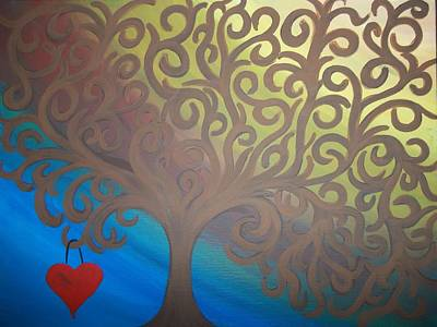 Hearts On Trees Painting - Simple Love by Jennifer Ochs