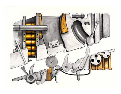 Glock Drawing - Simple Machines Drawing Three by Sean Gautreaux