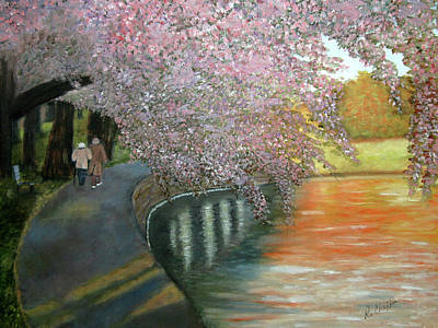 Cherry Blossoms Painting - Simple Pleasures by Robin Chaffin
